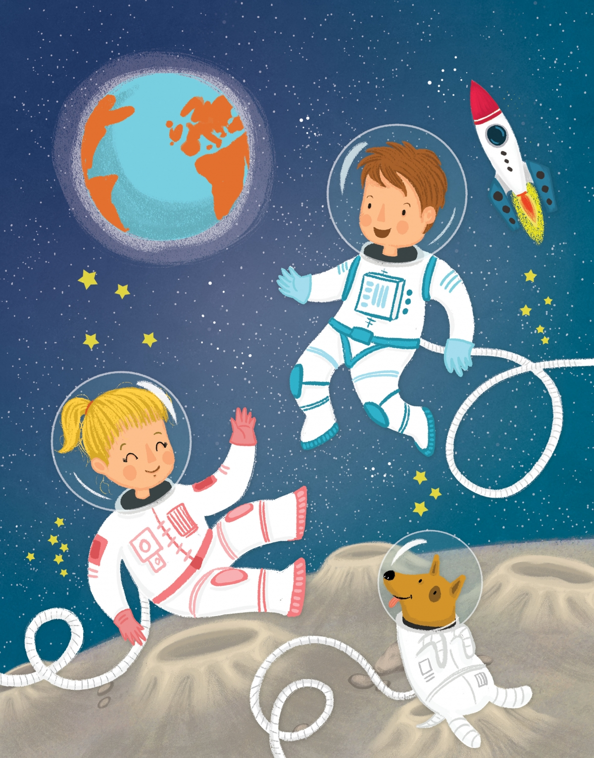 Children's magazine cover subject : Space