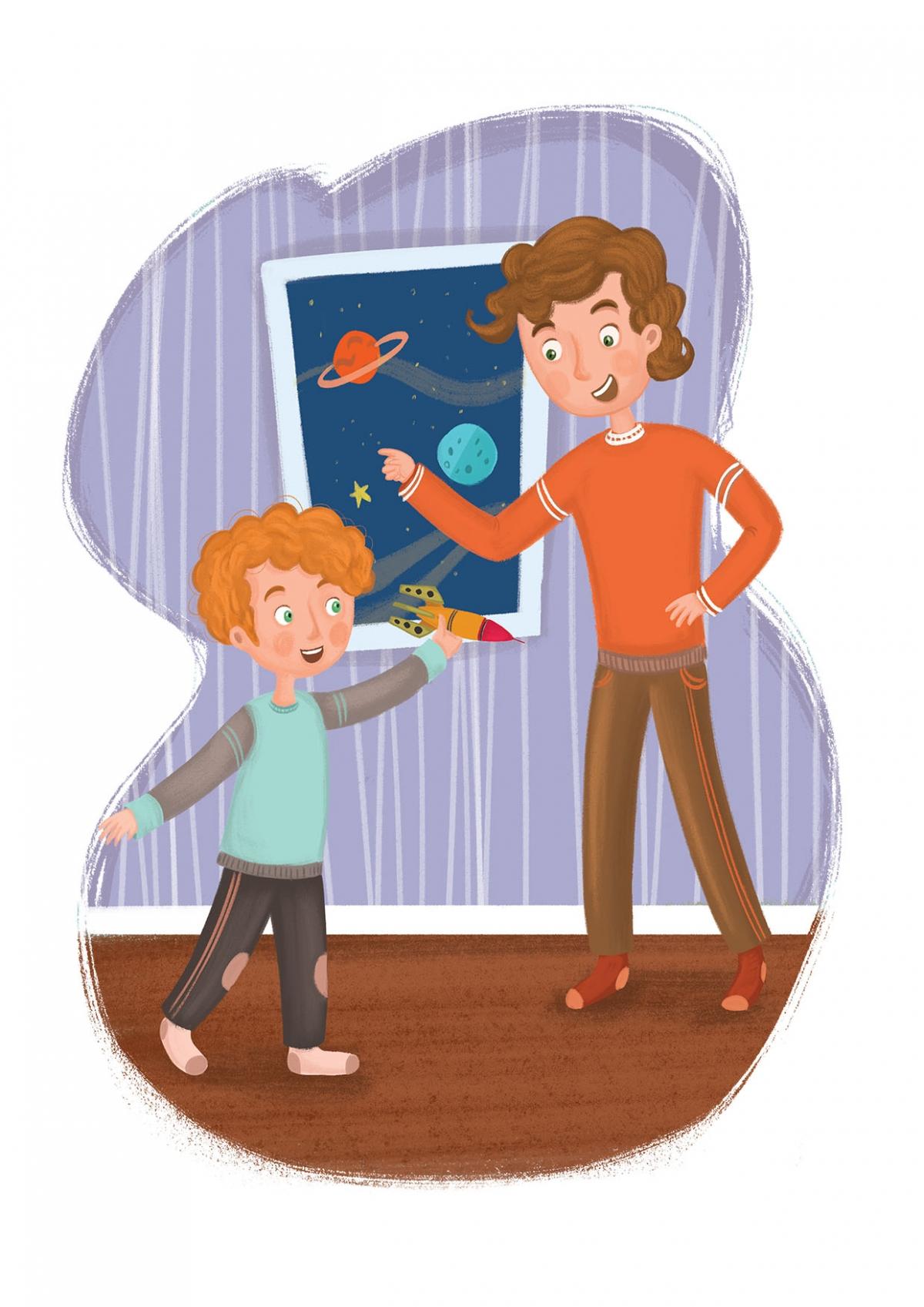 puzzle illustration for children's magazine