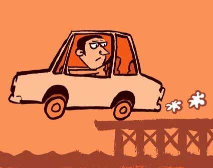 Editorial illustration suggesting the dangers of obeying questionable sat-nav data.